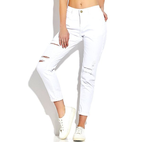 Yoins White Skinny Ripped Jeans with Middle-waisted (480 MXN) ❤ liked on Polyvore featuring jeans, ripped jeans, white distressed jeans, destroyed skinny jeans, skinny jeans and white ripped jeans