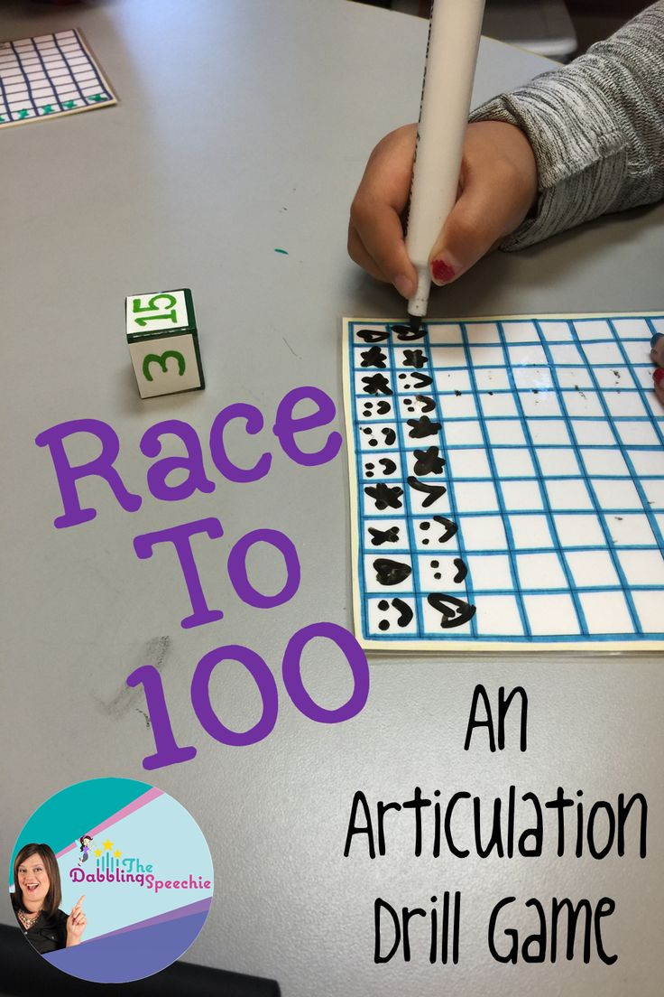 The Dabbling Speechie: Race to 100-Articulation Drill Games. Pinned by SOS Inc. Resources. Follow all our boards at pinterest.com/sostherapy/ for therapy resources.