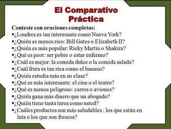 spanish comparative and superlative examples and activities ppt