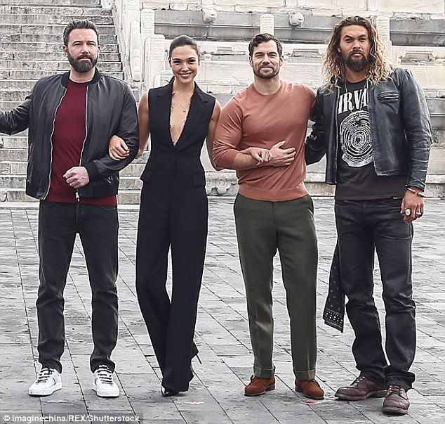 Jason Momoa, Henry Cavill, Gal Gadot And Ben Affleck In