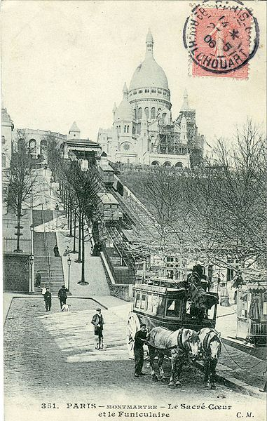 Montmartre - Sacré-Coeur Basilica and Funiculaire in Montmartre early 20th century