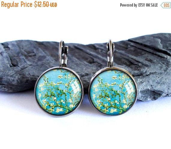 ON SALE Almond Blossoms earrings, blue dangle earrings, Vincent van Gogh drop earrings, flowers earrings, glass cabochon picture gift for ar