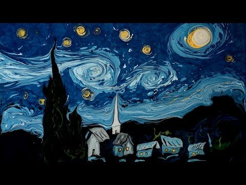 A Dark Water Recreation of Van Gogh's 'Starry Night' Using Paper Marbling Techniques
