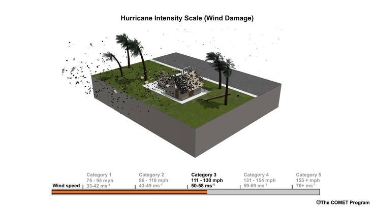 Animation showing an example of hurricane wind damage as measured using the Saffir-Simpson Scale.