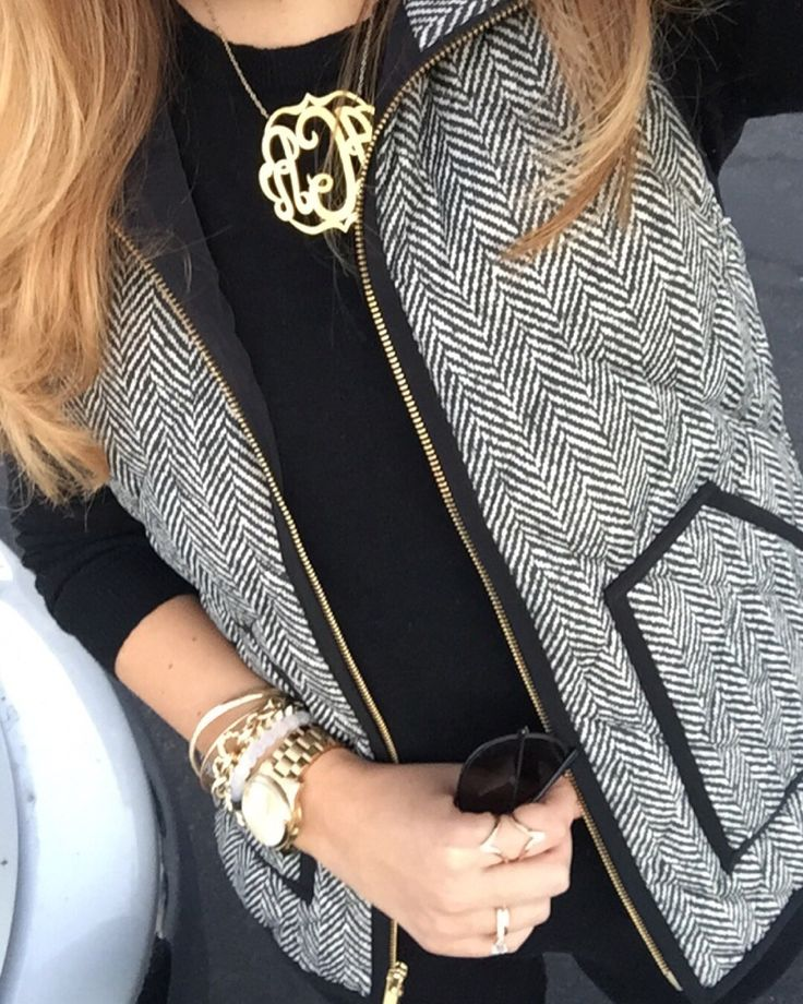 Monogram and Herringbone Vest | Lovely Gold Things