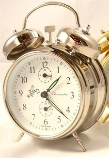 Cool Sternreiter Double Bell Mechanical Wind Alarm Clock   Silver With US  Standard Quality