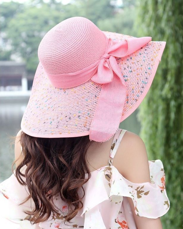 Women Bowknot Wide Brim Sun Hats Floppy Sombreros Visors Fedora Beach Cap Hat