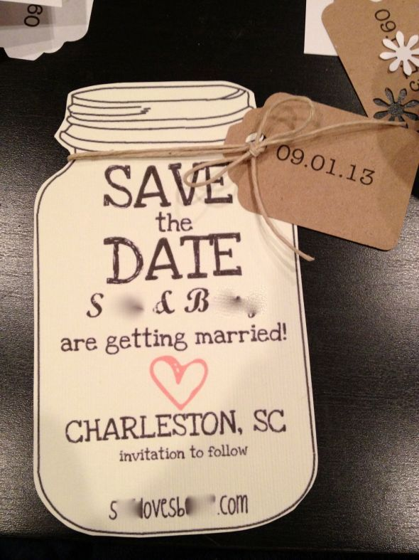 Southern Save the Dates! :  wedding diy invitations mason jar save the dates southern Savethedate #masonlove