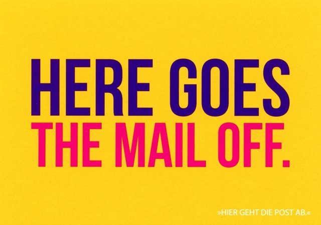 """Postkarte mit lustigen Sprüchen – Here goes the mail off. - """"Hier geht die Post ab."""" Postkarten Lustige Sprüche"""