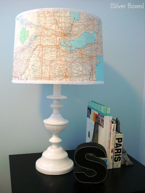 Decorated lampshade with map