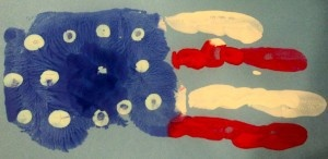 handprint flag. great craft idea for kids for 4th of July