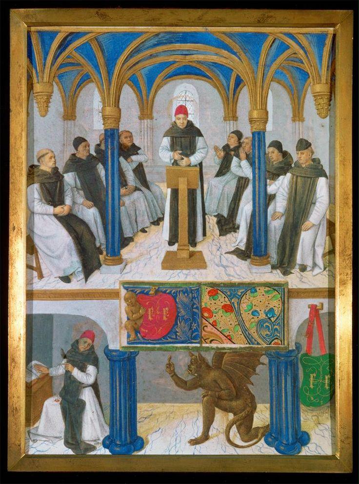 Jean Fouquet, Saint Bernard Praying with His Monks, Saint Bernard Tempted by Satan