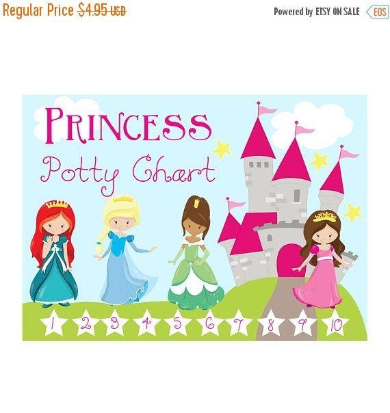 Sale Princess Potty Chart - Reward Chart - Reward System - Family Organization - Preschool - Printable Potty Chart #rewardchart #kidsroutine #pottytraining