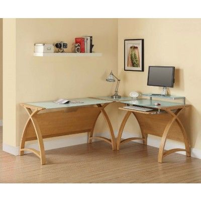 Image of a Jual Curve PC201 Corner Desk Package in Oak and White Glass using the PC201-1300LT-OW Large Laptop Table, PC201-900-OW Small Computer Desk, and PC201-CCW Corner Connector