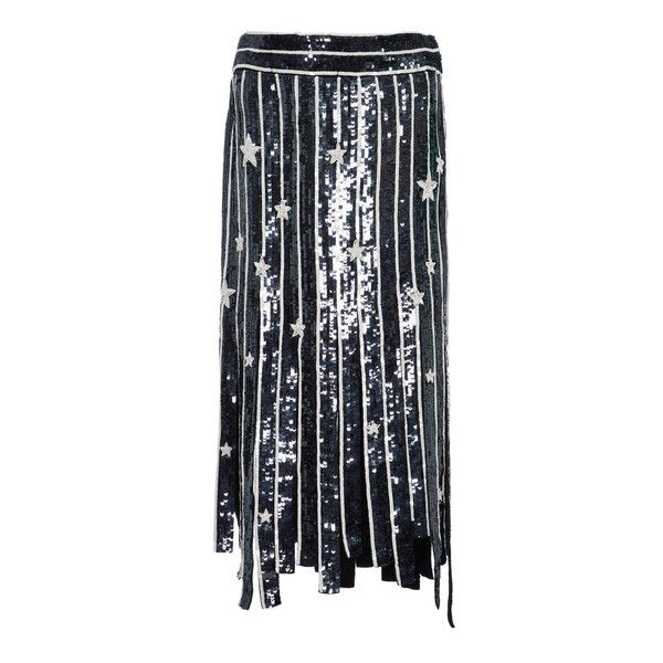 MONSE Star Fringe Skirt ($3,990) ❤ liked on Polyvore featuring skirts, navy, fringe skirts, sequined skirt, striped sequin skirt, navy sequin skirt and navy blue skirt