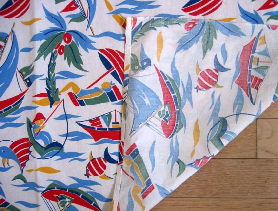 Vintage Tablecloth Fabric 50s Seaside Beach Fishing by Grabola