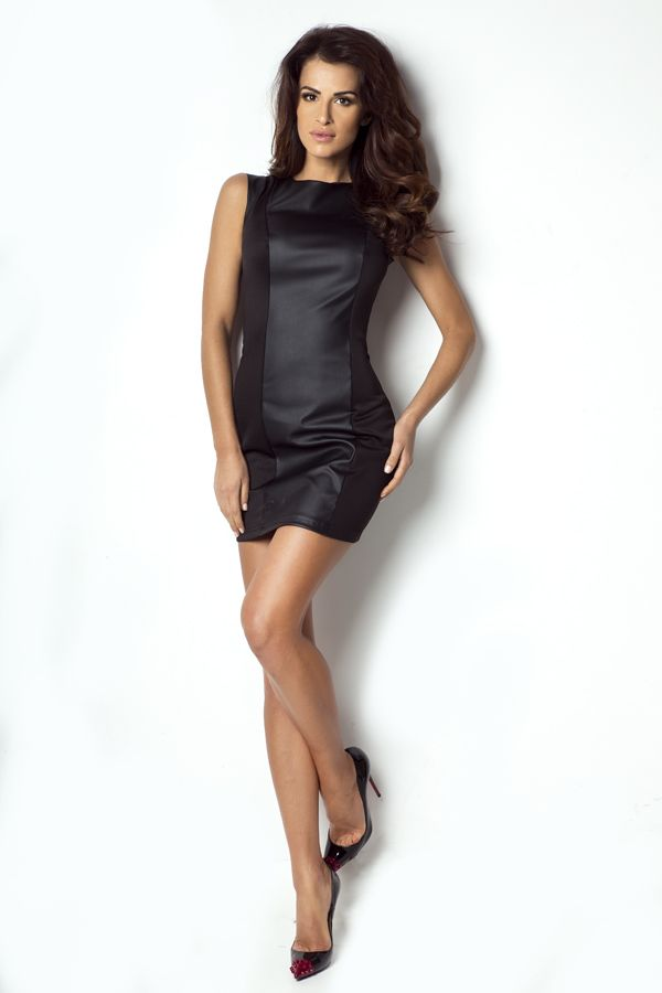 IVON Seksowna sukienka z panelem z eko-skóry ivon-sklep.pl