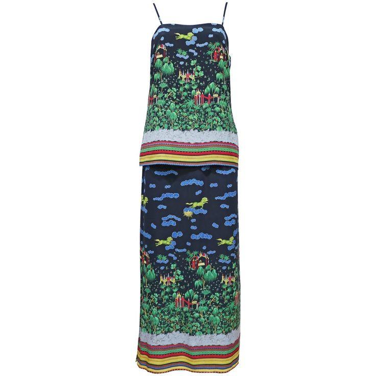 Murray Arbeid tiered silk dress with Oriental print, c. 1970s 1