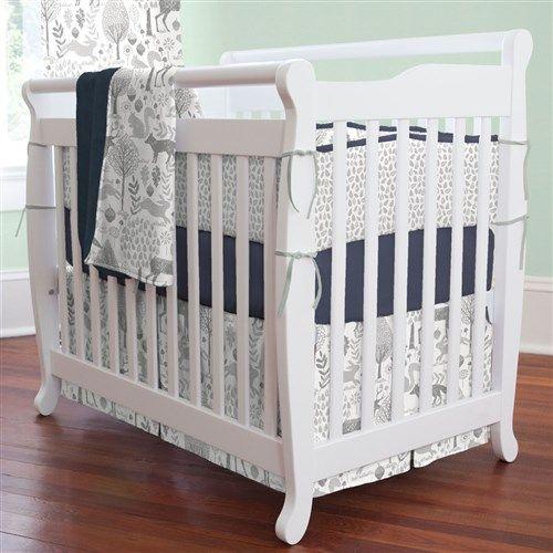 Navy and Gray Woodland Mini Crib Bedding   Carousel Designs