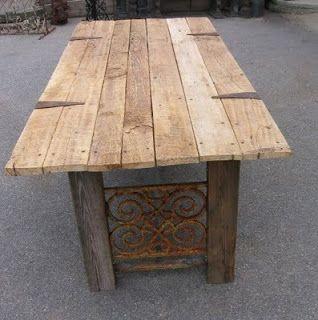 TABLE FROM RECLAIMED BARNDOOR | Custom Rustic Farm Table made from a Barn Door & Salvaged Window ...