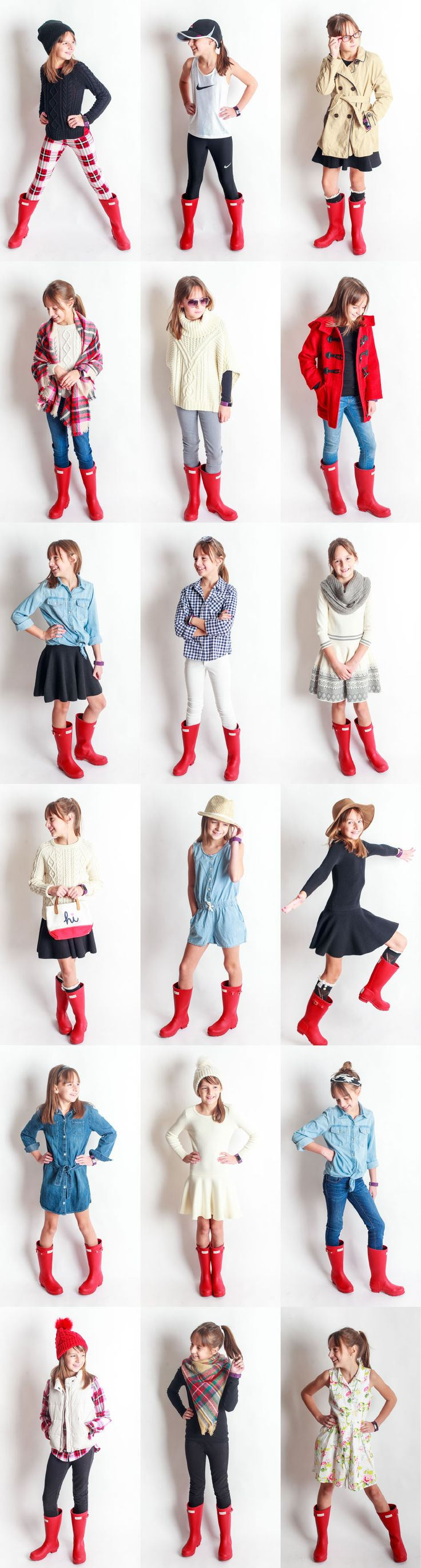 Red Rain Boots Project! 18 outfits with one pair of red rain boots!