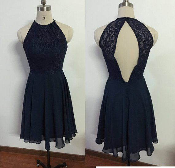 Dark Blue Lace Bridesmaid Dress Short Prom