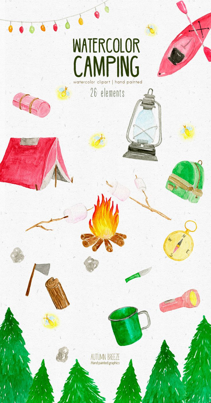 Watercolor Camping Clipart Summer Clipart Nature Clipart Summer