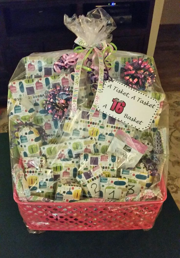 A Tisket, A Tasket, A Sweet 16 Basket! Filled with 16 gifts for the Special Birthday Girl!!