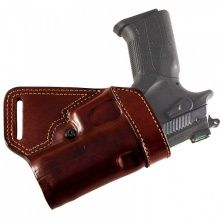"Small of back leather Falco holster. I'd like one for my Beretta 96a1 and my Springfield 5"" 1911."