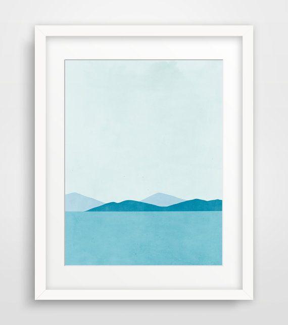 Ocean Beach Decor, Blue Abstract Art, Modern Art Print, Living Room Decor, Coastal Decor, Minimalist Poster
