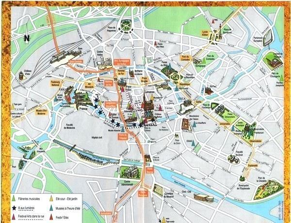Strasbourg Tourist Map Map Street Strasbourg France Travelio 600 X