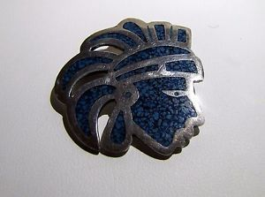 Sterling-silver-Native-American-pin-amp-pendant-Indian-Head-Dress-Lapis-stone., 19.99