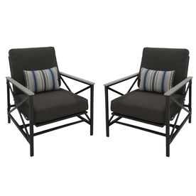 Garden Treasures Set Of 2 Arrowhead Springs Dark Gray Steel Seat Patio  Glider With Solid Gray