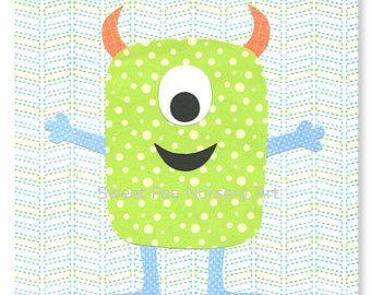 Monstre Nursery décor, garçon pépinière Art, bleu et vert pépinière, pépinière mignon Art, Art monstre mignon