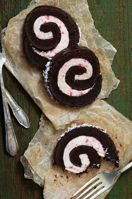 Peppermint Chocolate Roll. think I may try this. One thing I find very interesting is the use of brown paper under waxed paper as the Plate. Creative and Green. Maybe a roll of butchers paper could be used also.
