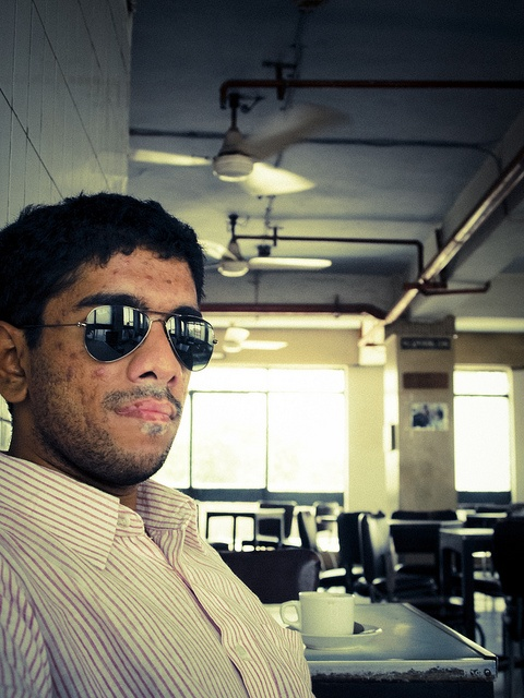 Fans, Coffee and Shades... Pheroze at the Indian Coffee House in Connaught Place, New Delhi...