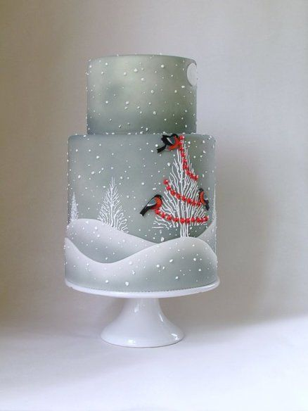 Winter Christmas Cake... The cake is airbrushed fondant, with fondant hills and birds, with royal icing trees, berries, snowflakes...❤