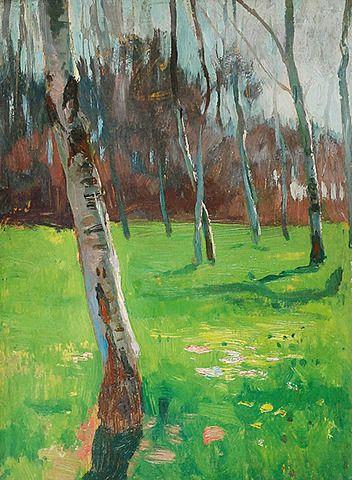 Jan STANISŁAWSKI (1860-1907)  Wiosna - Park Krakowski, ok. 1900 olej, deska; 22,5 x 16,5 cm; sygn. p. d.: JAN STANISŁAWSKI;