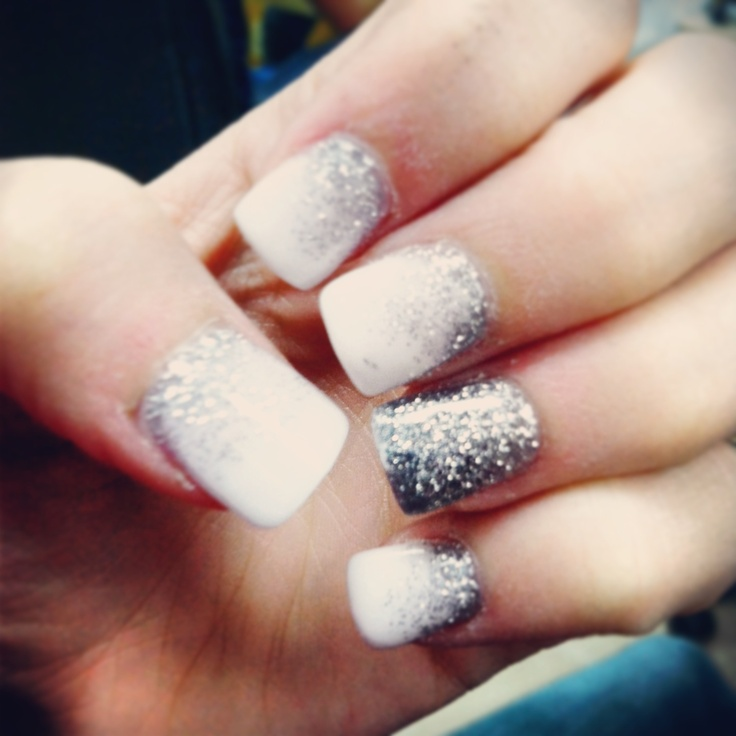 Nails, prom nails , faded white to silver | Prom Nails for ...