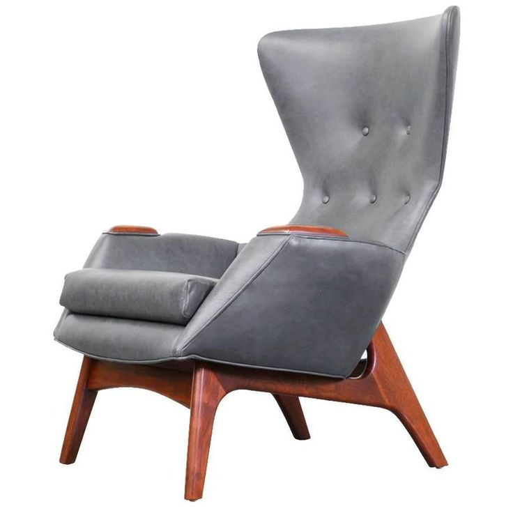 Superior Adrian Pearsall Leather Wing High Back Chair For Craft Associates