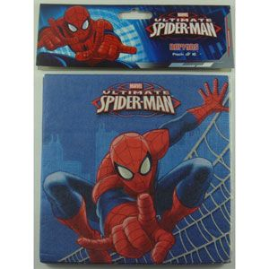 1076 - Spiderman Napkins. Pack of 16 Spiderman Ultimate Napkins Luncheon Size (33cm x 33cm) - Pack of 16