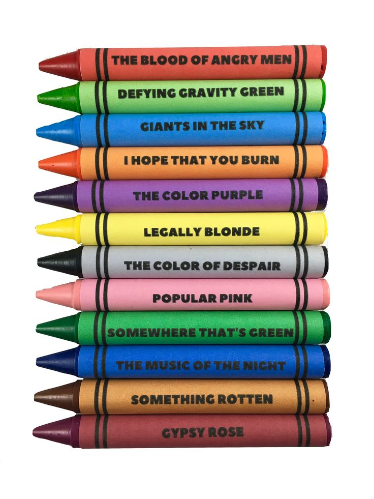 Note: Due to high demand delivery time on crayons is about 14 days Set Of 12 Broadway-Themed Coloring Crayons. *Theatre Nerds Exclusive Product. Each set comes in custom packaging with a color-to-show