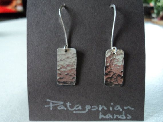 Fine silver hand hammered earrings Free by PatagonianHands on Etsy, $34.00