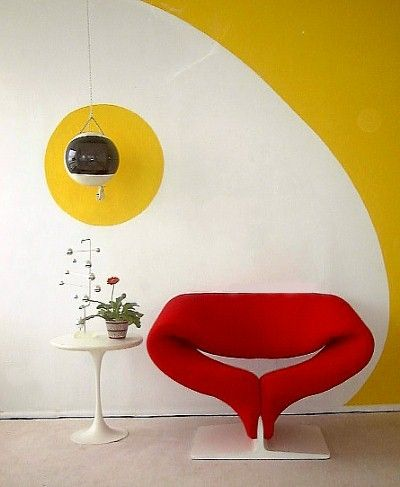 Ribbon Chair, 1966,  with yellow accent wall