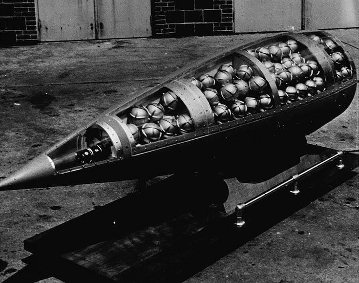 U.S. Honest John missile warhead cutaway, showing M134 Sarin (nerve agent) bomblets (c. 1960)