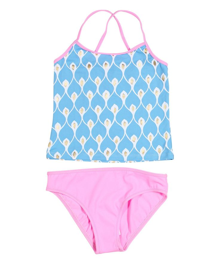 Look at this Light Blue Abstract Pink Tankini - Girls on #zulily today!