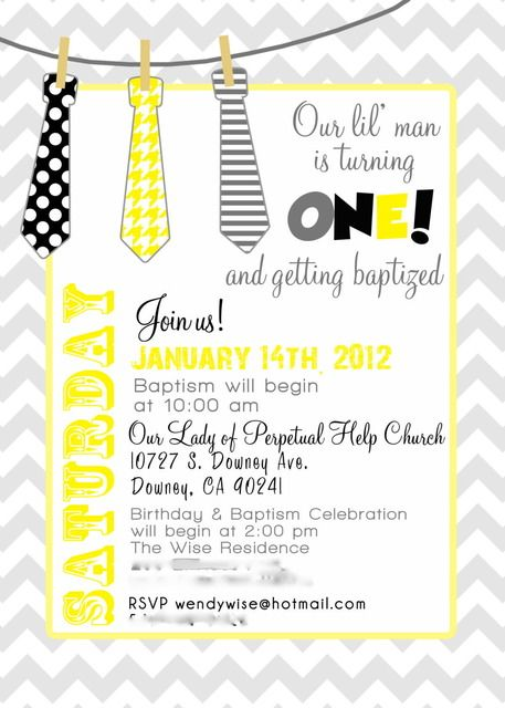 Baptism invitation...but I like for cristians 1st bday party with his mustache theme!!