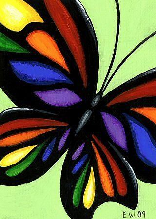Art+'Wings+Of+Rainbow+Stained+Glass'+-+by+Elaina+Wagner+from+Butterflies+