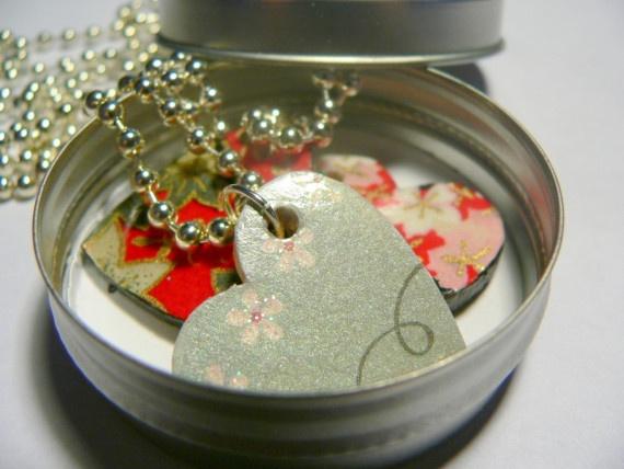 I Heart Cherry Bossoms- Japanese Chiyogami  Pendant