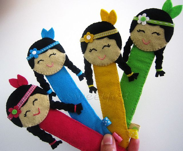 Marca páginas muñecas nativas americanas de fieltro   -   Felt American Indian Doll Bookmarks